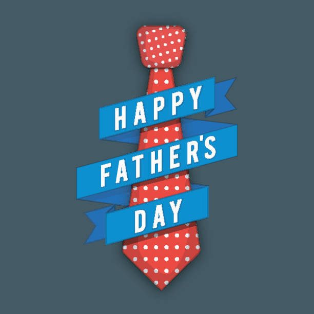 red tie with blue ribbon for father's day celebration. - fathers day stock illustrations, clip art, cartoons, & icons