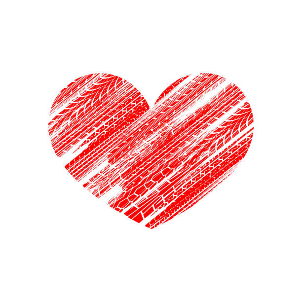 Red tire track heart White background with red grunge tire track silhouettes car love stock illustrations