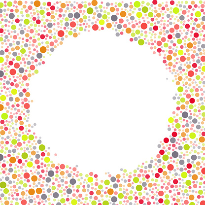 Sized circles, no overlap filling area outside circle shape completely forming copy space. Color is size dependent.