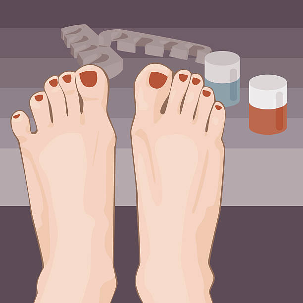 Red Toe Nails Vector Art Illustration