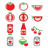 Red tomato, ketchup, tomato soup icons set