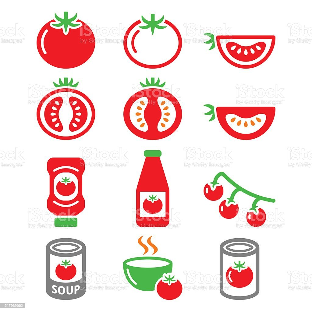 Red tomato, ketchup, tomato soup icons set vector art illustration
