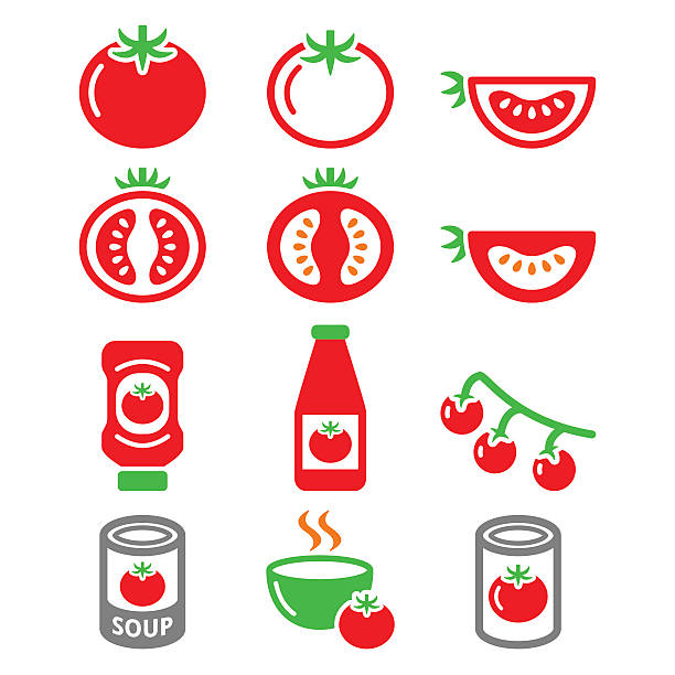 red tomato, ketchup, tomato soup icons set - cherry tomato stock illustrations