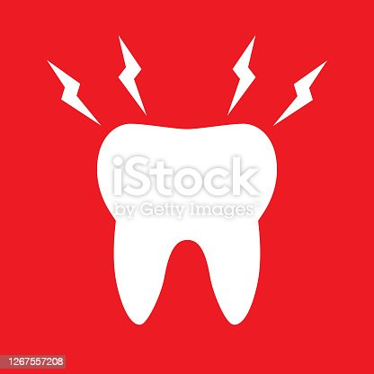 Vector illustration of an aching white tooth oh a square red background.