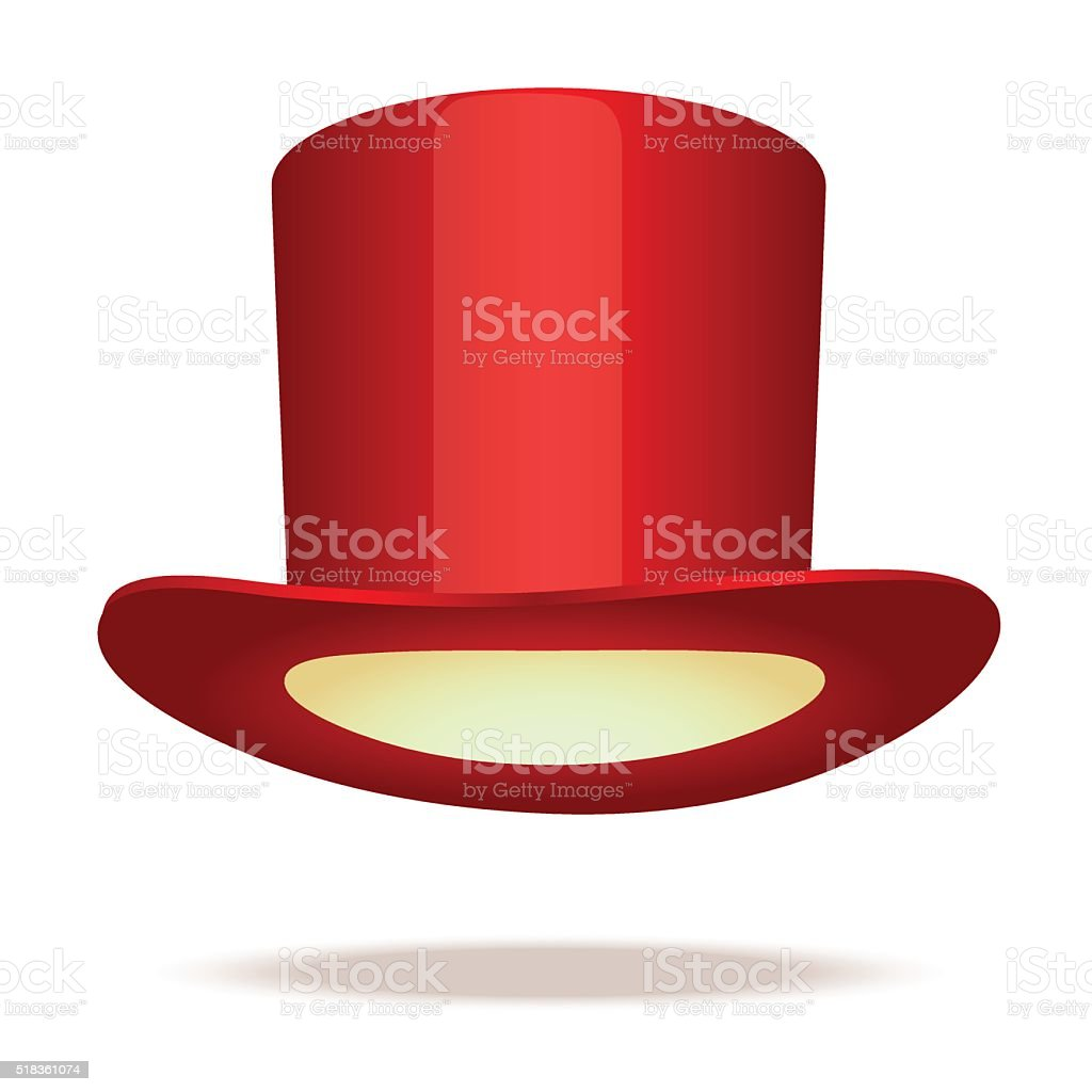 Red top hat vector art illustration