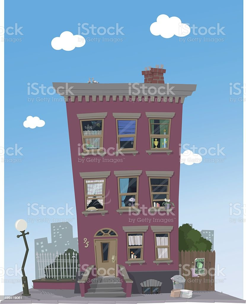 Red Townhouse vector art illustration