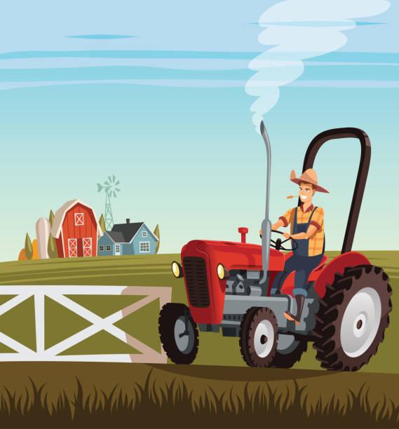 illustrazioni stock, clip art, cartoni animati e icone di tendenza di red tractor and driver on  small farm - trattore