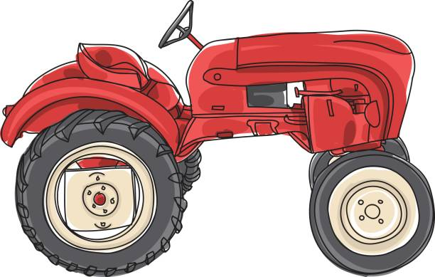 Tractor Cartoon Picker : Royalty free agricultural machinery vector red harvester