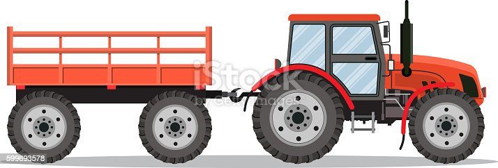 red tractor with semi-trailer icon isolated over white background. Vector illustration in flat design