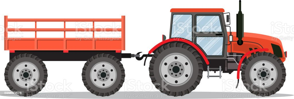 red tractor with semi-trailer vector art illustration