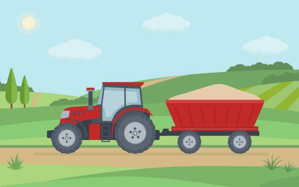 illustrazioni stock, clip art, cartoni animati e icone di tendenza di red tractor with trailer on rural landscape background. - trattore