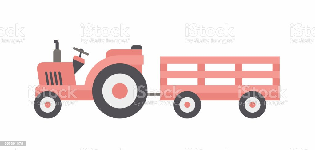 Red  tractor with trailer royalty-free red tractor with trailer stock vector art & more images of agricultural machinery