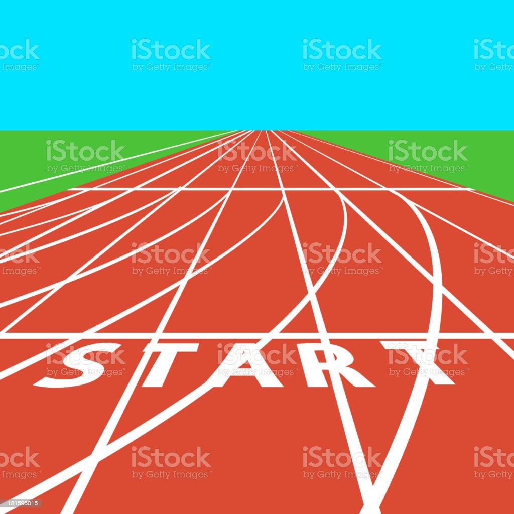 Red treadmill at the stadium vector art illustration