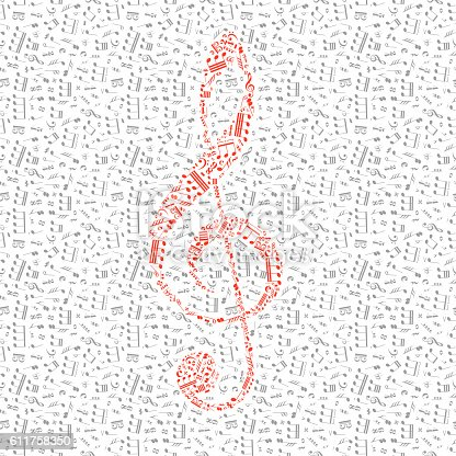 Red treble clef sign made up from music notes among gray notes isolated on white