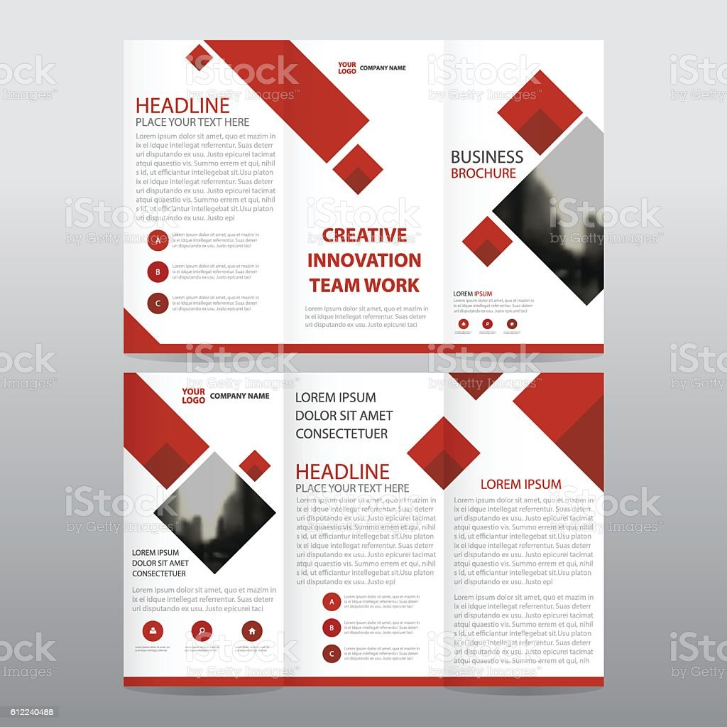 red triangle business trifold leaflet brochure flyer report template