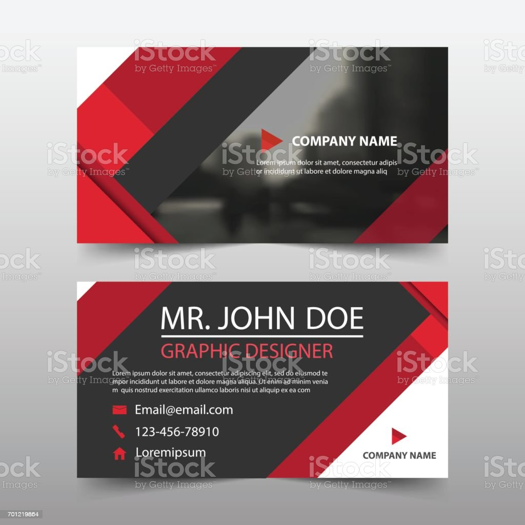 Red Triangle Corporate Business Card Name Card Template Horizontal ...