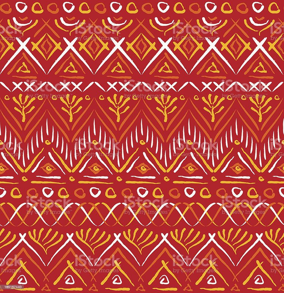 Red tribal ethnic seamless pattern vector art illustration