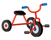 A Red Tricycle on White Background illustration