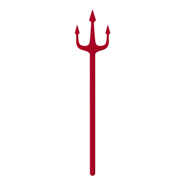 Red trident isolated on white background. Devil, neptune trident. Cartoon style. Clean and modern vector illustration for design, web. Red trident isolated on white background. Devil, neptune trident. Cartoon style. Clean and modern vector illustration for design, web. pitchfork agricultural equipment stock illustrations