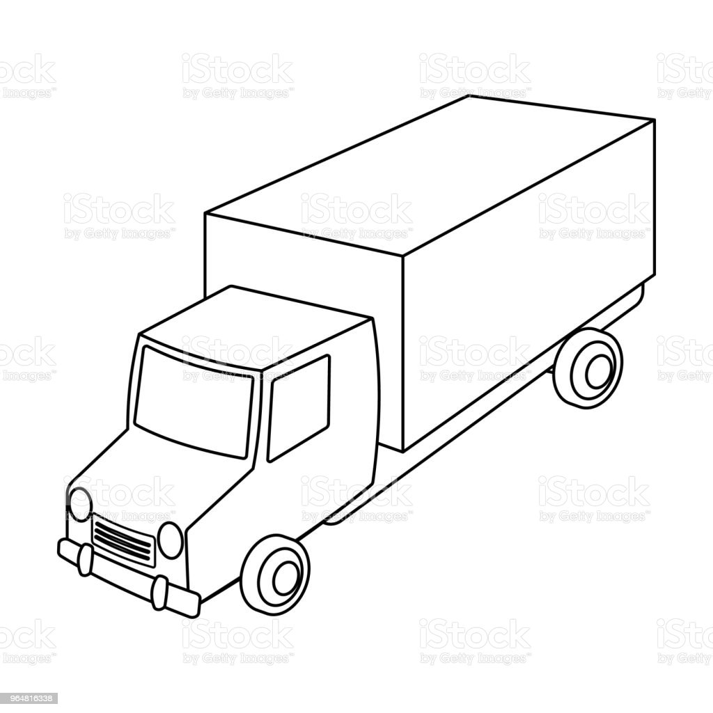 Red truck with a yellow body. The car for cargo transportation.Transport single icon in outline style vector symbol stock web illustration. royalty-free red truck with a yellow body the car for cargo transportationtransport single icon in outline style vector symbol stock web illustration stock vector art & more images of business