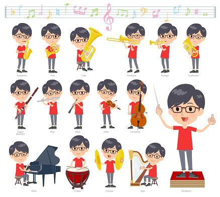 red Tshirt Glasse men_classic music