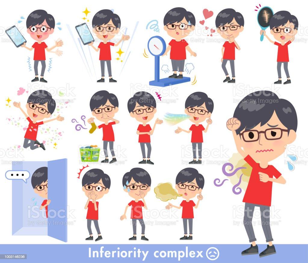 red Tshirt Glasse men_complex vector art illustration