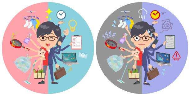 ilustrações de stock, clip art, desenhos animados e ícones de red tshirt glasse men_mulch task switch - fail cooking
