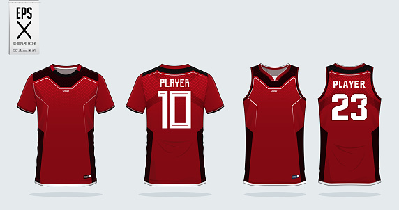 Red t-shirt sport design template for soccer jersey, football kit and tank top for basketball jersey. Sport uniform in front and back view. Sport shirt mock up for sport club.