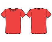 Red t-shirt template. Front and back