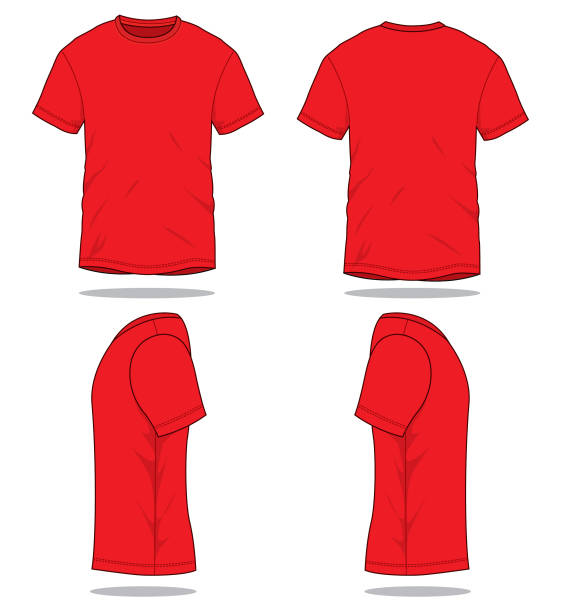 Red T-Shirt Vector for Template Front and Back Views. red shirt stock illustrations