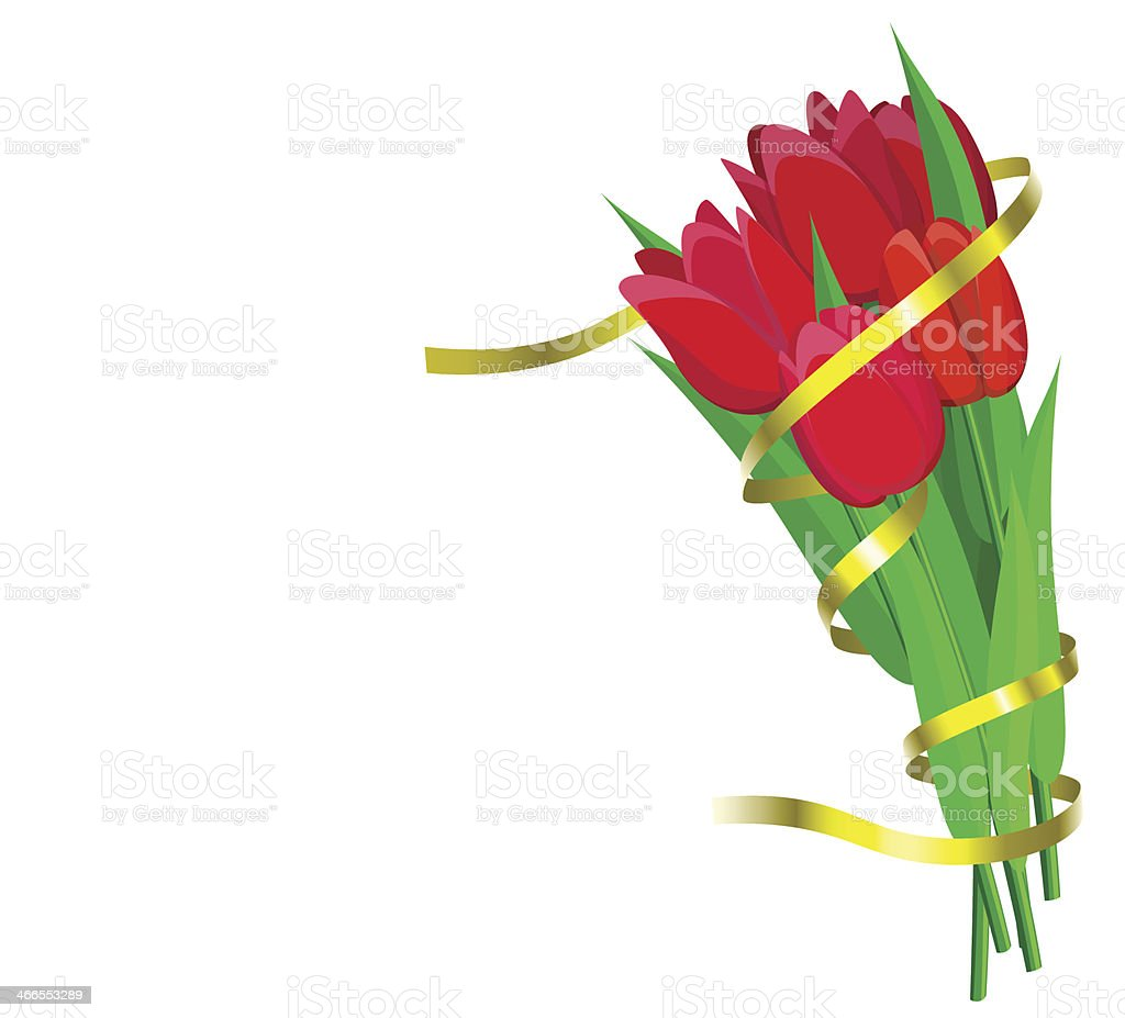 Red tulips with yellow ribbon are on white background. royalty-free red tulips with yellow ribbon are on white background stock vector art & more images of birthday