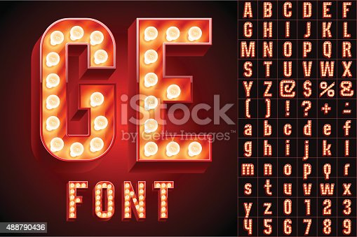 istock Red ultimate realistic lamp board alphabet 488790436