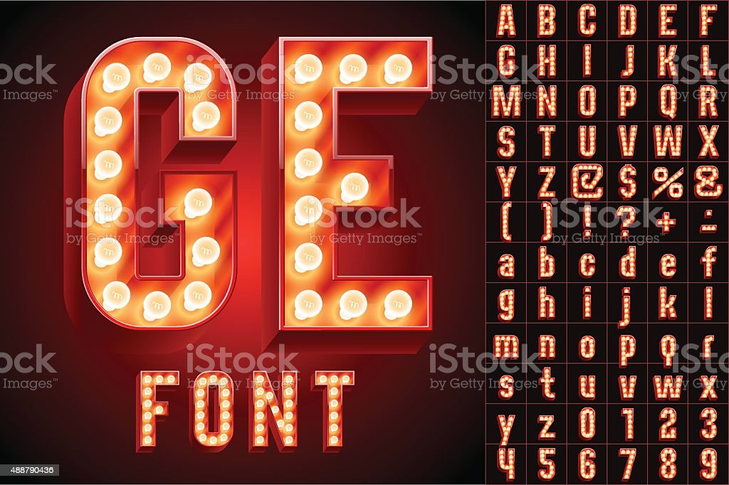Red ultimate realistic lamp board alphabet vector art illustration