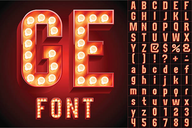 illustrazioni stock, clip art, cartoni animati e icone di tendenza di rosso massimo realistico lampada bordo alfabeto - christmas movie