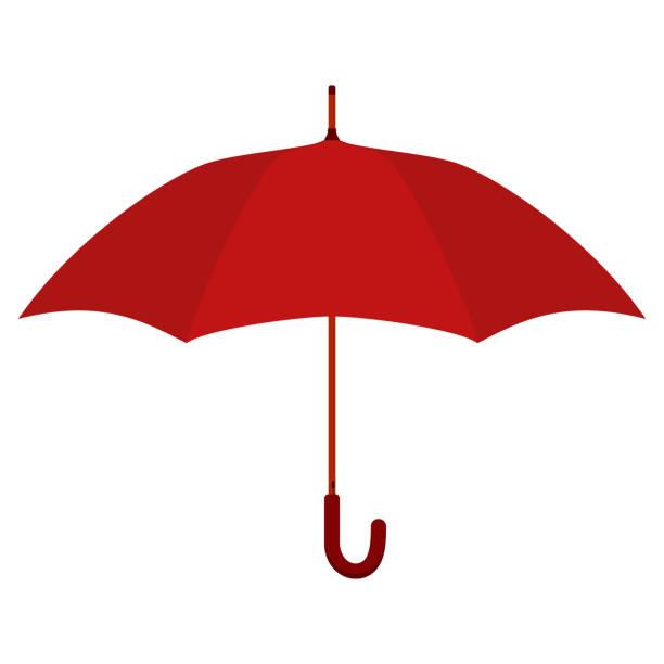 illustrazioni stock, clip art, cartoni animati e icone di tendenza di red umbrella. flat vector illustration. - mockup outdoor rain