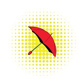 Red umbrella icon in comics style on a white background