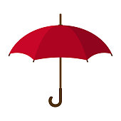 Red Umbrella Icon. Red Umbrella isolated on white background. Flat Style. Clean and modern vector illustration for design, web.