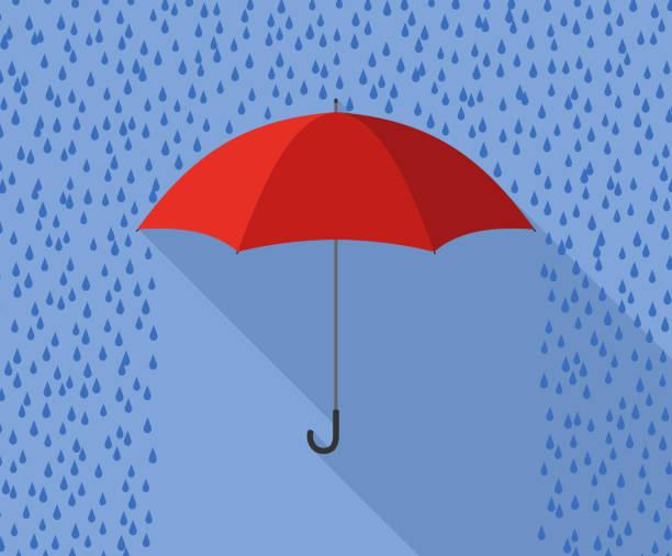 red umbrella in rain flat design Red umbrella in rainy weather - flat design. rain stock illustrations