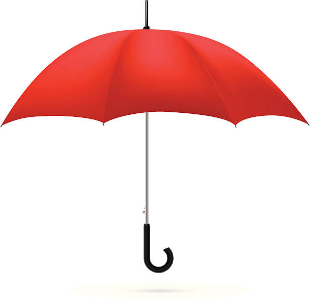 A red umbrella on a white background vector art illustration