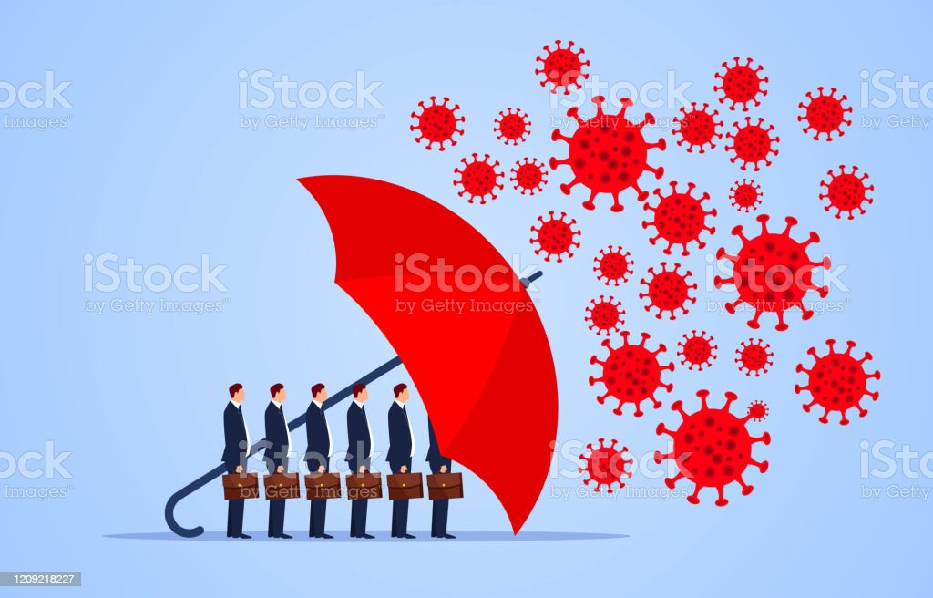 Red umbrella protecting merchants immune novel coronavirus pneumonia infection Red umbrella protecting merchants immune novel coronavirus pneumonia infection Accidents and Disasters stock vector
