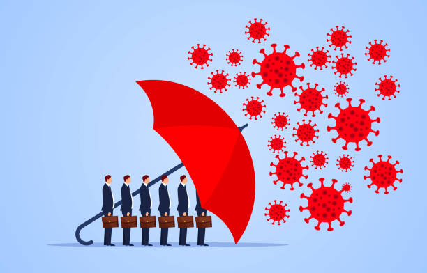 red umbrella protecting merchants immune novel coronavirus pneumonia infection - covid 19 stock illustrations