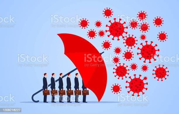 Red Umbrella Protecting Merchants Immune Novel Coronavirus Pneumonia Infection Stock Illustration - Download Image Now