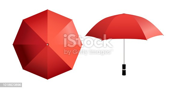 Top and side view of open parasol isolated on white (any) background