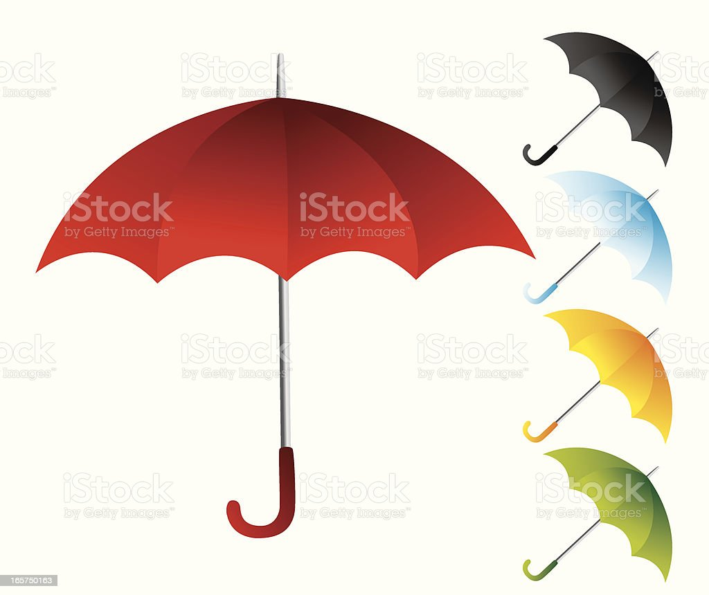 Red umbrella with other colorful umbrellas royalty-free stock vector art