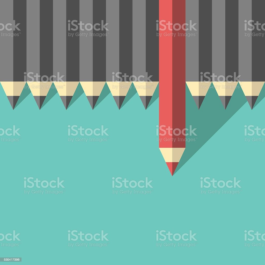 Red unique different pencil vector art illustration