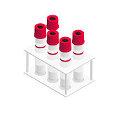 Red Vacutainer blood collection tubes in isometric design, range of test tubes in the stand, vector illustration isolated on white background
