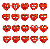 Red Valentine balloon smiles set