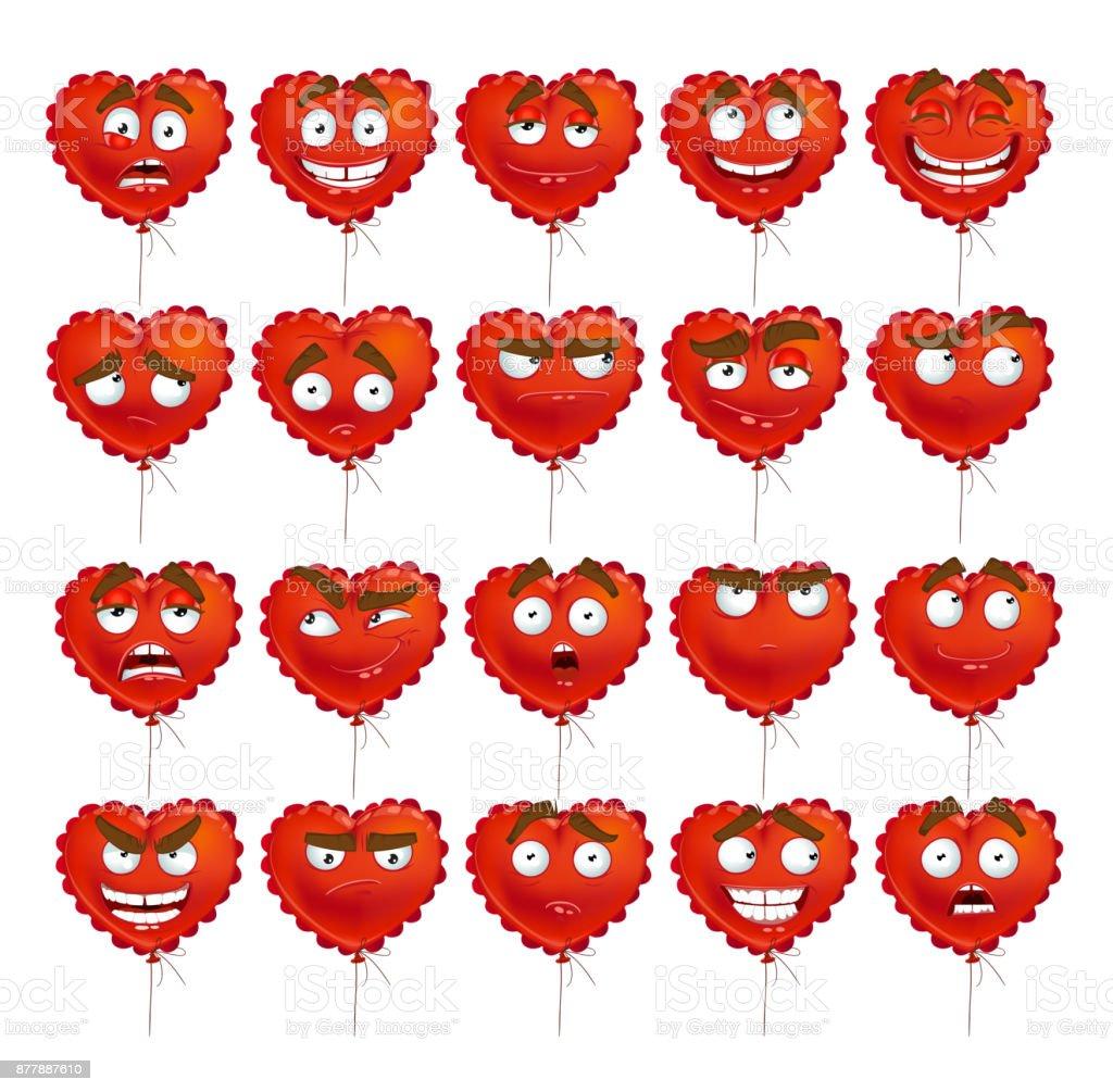 Red Valentine balloon smiles set vector art illustration