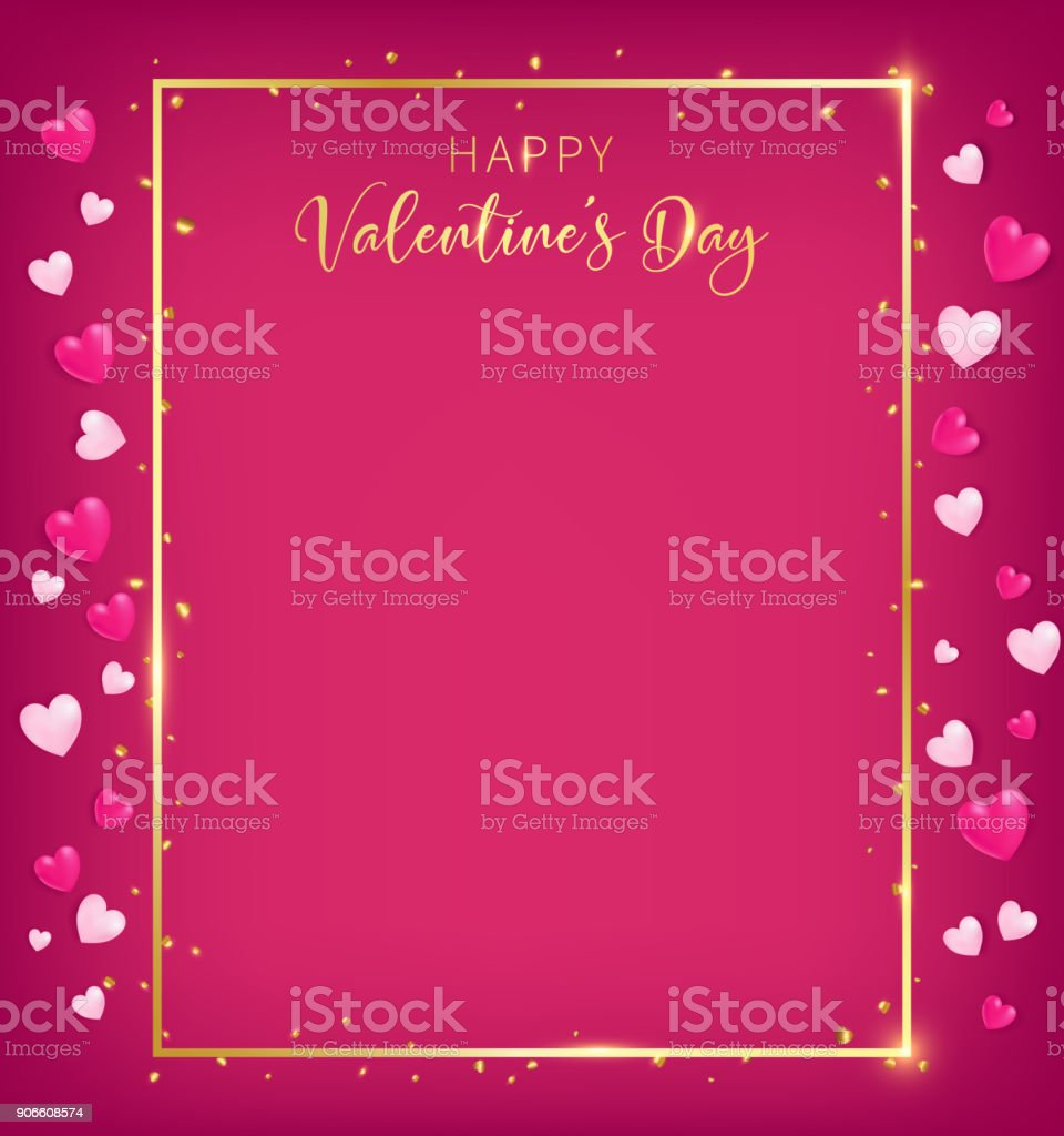 red valentines board with gold border and happy valentine`s day text