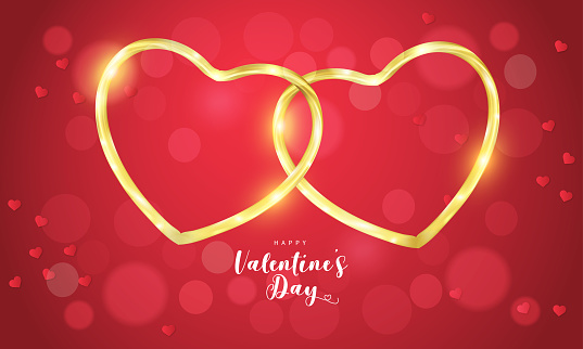 Red Valentine's Day background with 3d hearts on red. Vector illustration. Cute love banner or greeting card. Place for text